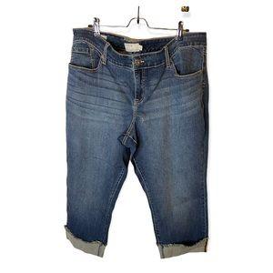 Torrid 22 Denim Boyfriend Cropped Frayed Cuffed Med Wash High Rise Denim Jeans